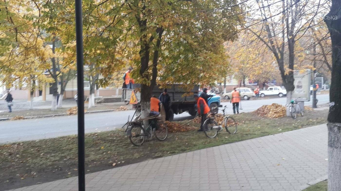 Центр Новомосковска очищают от опавшей листвы, фото-2